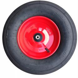 Fort kruiwagenwiel metaal rood met 4 ply band en 20 cm as