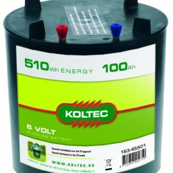 Koltec batterij 6V- 100Ah Alkaline (rond)