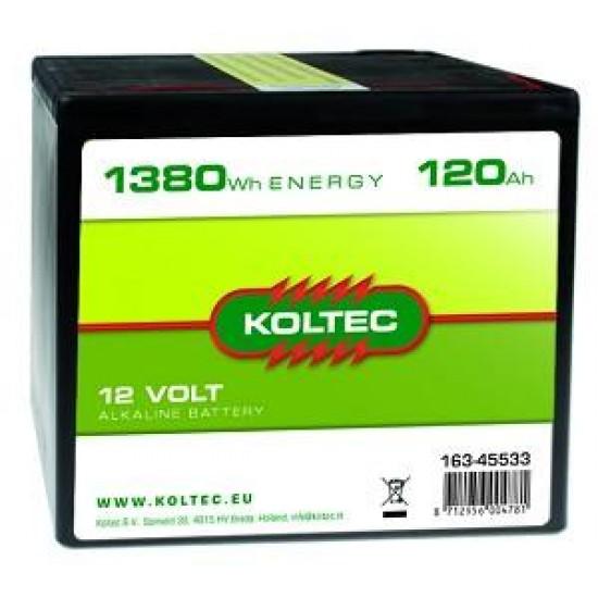 Koltec batterij 12V- 120Ah Alkaline groot (voorraad)