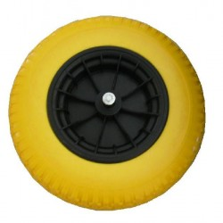 """Kruiwagenwiel """"nooit meer lek"""" (geel/ grijs massief) met 20 cm. as"""