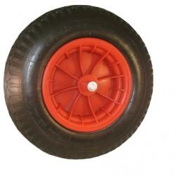 Kruiwagenwiel 400 x 8 met as (13cm.) kogellager, kunststof.
