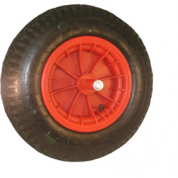 Kruiwagenwiel met as (20cm.) kogellager, kunststof