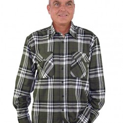 Storvik overhemd dawson O7 flanel zwart/olijf maat XL