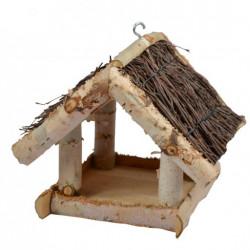 Tweetfeed Voederhuis Paula hangmodel met berken dakje