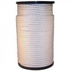 Touw nylon met kern (wit) 4 mm. (100 mtr.)